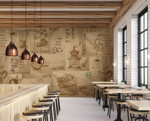 Ambientazione carta parati tela sacco e caffè