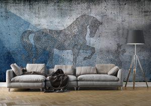 ambientazione-carta-parati-cavallo-stilizzato-azzurro