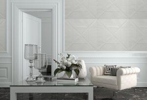 Ambientazione carta da parati quadri bianchi stile geometrico