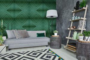 Ambientazione carta da parati rombi verde stile geometrico