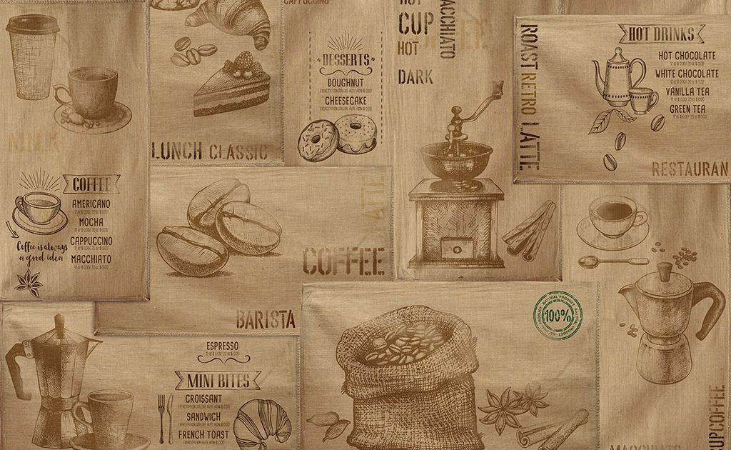 carta parati tela sacco e caffè stile vintage