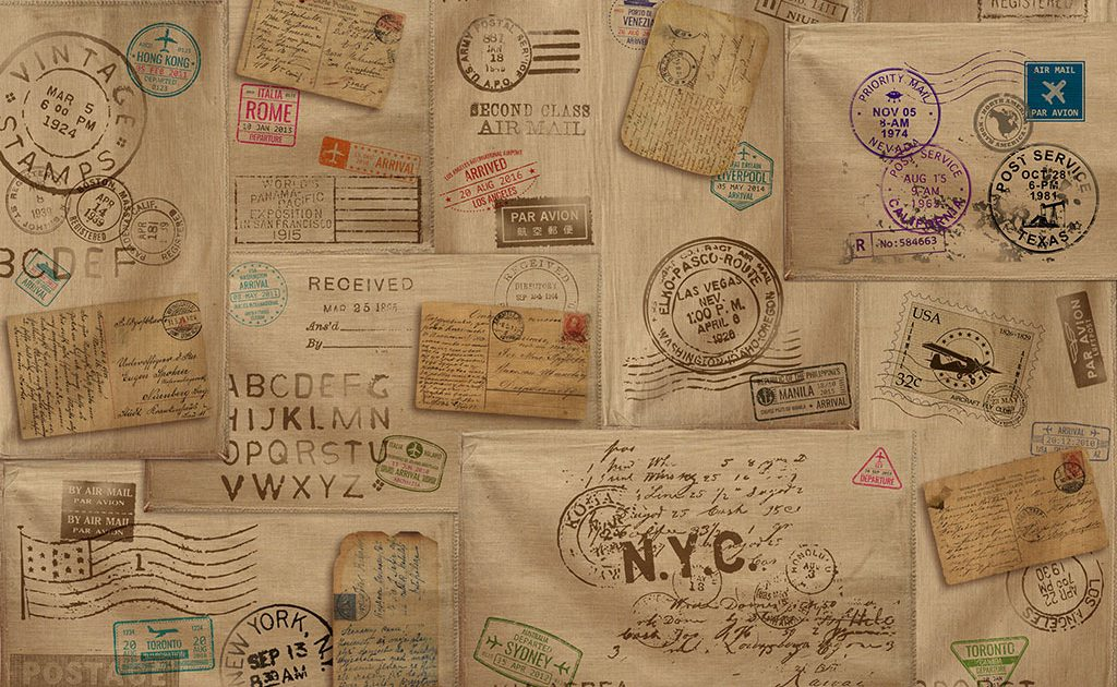 Carta da parati tela sacco e timbri postali stile vintage