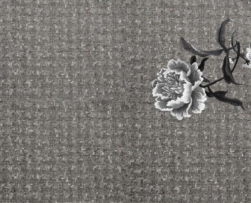 Carta da parati floreale grigio