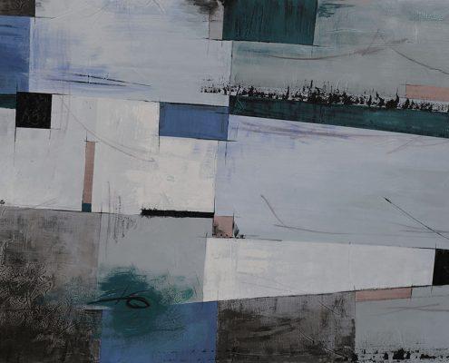 Carta da parati astratto geometrico azzurro