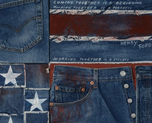 Particolare carta da parati Old America blu stile vintage