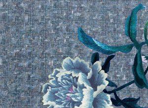 Particolare carta da parati floreale azzurra